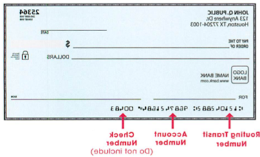 Samplecheck of routing number and account number
